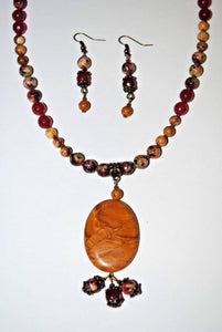 Scene Jasper Pendant and Red Beige Dyed Jade. Pendant Jasper Set.Brown and Red Beaded Necklace Set.Olga's Treasures Shop