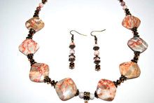 Load image into Gallery viewer, Light Brown Spot Jasper.Pink Jasper.Jasper and Brass Necklace Set.