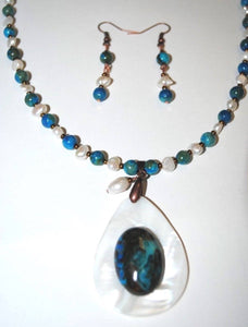Cyan Crazy Agate Set . Crazy Lace Agate,freshwater pearls and Shell.Shelll and Crazy Lace Agate Pendant.Olga's Treasures shop