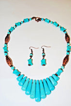 Load image into Gallery viewer, Magnesite and Copper Beads.Copper Necklace.Short Necklace.Turquoise Necklace Set.Magnesite Turquoise Necklace.Olga's Treasures Shop