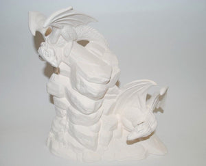 Double Dragons on a Rock Ready to Paint . Doc Holliday Mold