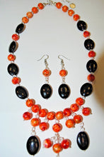 Load image into Gallery viewer, Handmade Orange and Black Necklace Set.