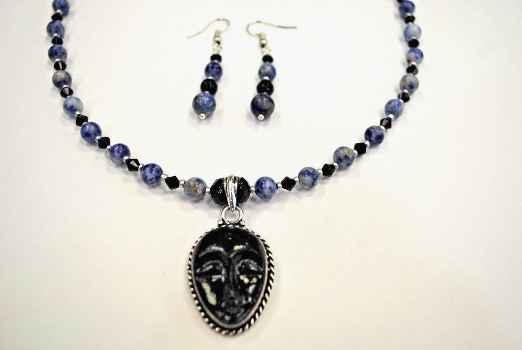 Sodalite Necklace Set.Sodalite Beads.Black Face Pendant Set.Short Necklace.Glass and Sodalite Necklace Set.Olga's Treasures Shop