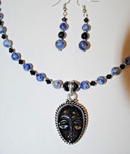 Load image into Gallery viewer, Sodalite Necklace Set.Sodalite Beads.Black Face Pendant Set.Short Necklace.Glass and Sodalite Necklace Set.Olga's Treasures Shop