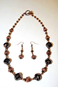 Glass Necklace Set.Bronze Glass and Rhinestones Beads set.Handmade Beaded necklace set.Olga's Treasures Shop
