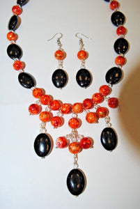 Handmade Orange and Black Necklace Set.