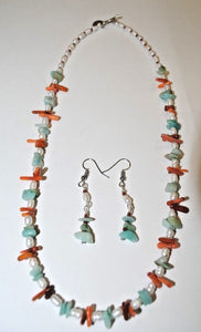 Amazonite,Freshwater Pearls and Coral Chips.