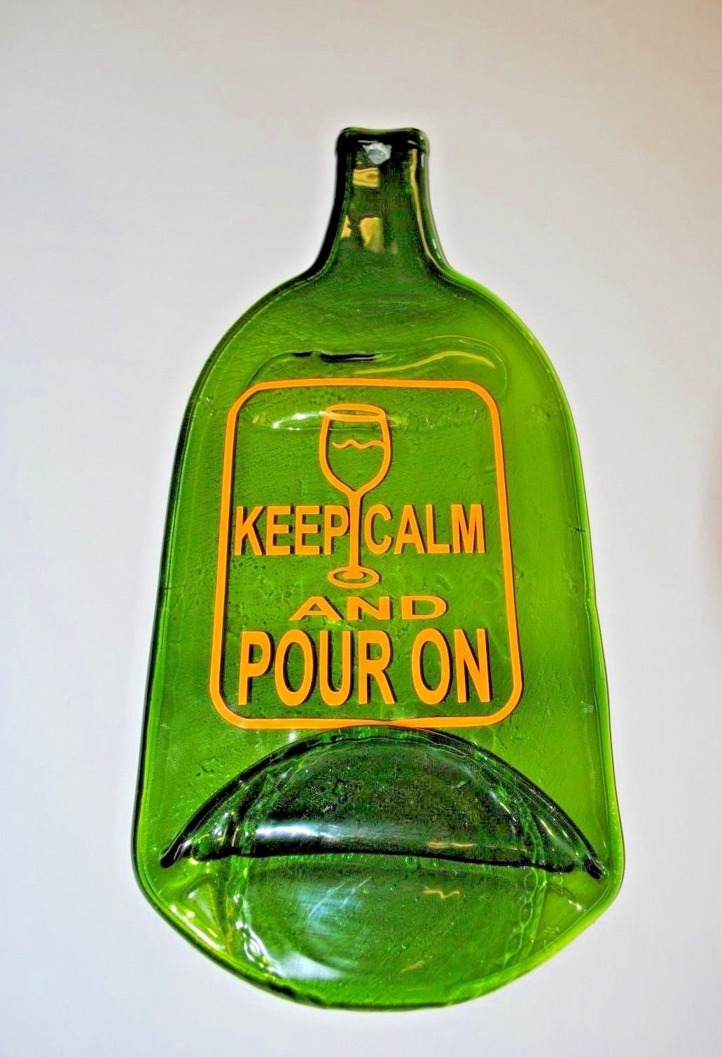 Flat Bottle serving Tray,Flat Bottle Wall Decor,Wine Flat Bottle Keep Calm and Pour On.Olga's Treasures Shop
