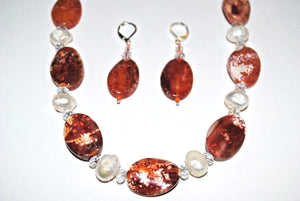 Crackle Agate and Freshwater Pearls Nuggets.Agate Necklace Set.Handmade Freshwater Pearl Necklace.Olga's Treasures Shop