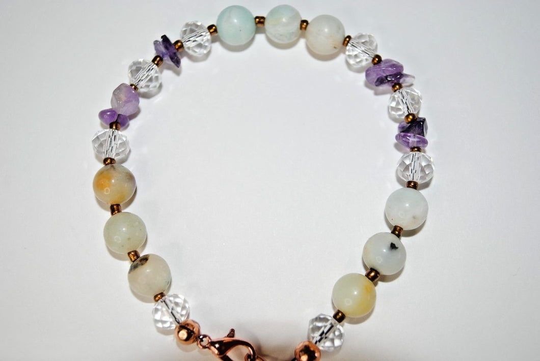 Multi Gemstone Bracelet.Amazonite and Amethyst Chips Bracelet.Beaded Multi Color Bracelet.Olga's Treasures shop