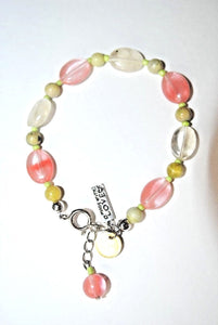 Cherry Quartz bracelet. Oval Cherry Quartz.Handmade Crafted Bracelet.Olga's Treasures Shop