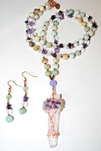 Load image into Gallery viewer, Long Amazonite and Amethyst Chips Beaded Necklace Set. Quartz tree of Life Pendant.Wrapped  Pendant.Tree Of Life.Olga's Treasures Shop