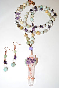 Long Amazonite and Amethyst Chips Beaded Necklace Set. Quartz tree of Life Pendant.Wrapped  Pendant.Tree Of Life.Olga's Treasures Shop