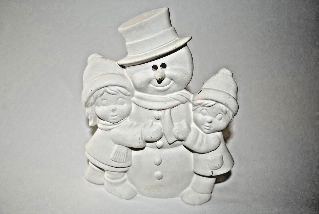 Snowman and Children Bisque.Paint You Own ceramic Bisque Snowman.Olga's treasures Shop