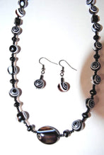 Load image into Gallery viewer, Swirl Glass Necklace Set.Black and white Beaded Necklace.Handmade Black Necklaces.Black-Brown White Beads.Olga's Treasures Shop