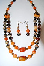 Load image into Gallery viewer, Orange Aventurine and Beaige Black Agate Beads.