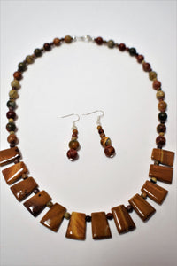 Red Creek Jasper and Bamboo Jasper.Beaded Necklace Set.