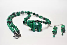 Load image into Gallery viewer, Malachite and Hematite Necklace Set.Malachite Carved Elephant.Long Malachite Pendant Set.Hematite Necklace. Malachite.Olga's  Treasures Shop
