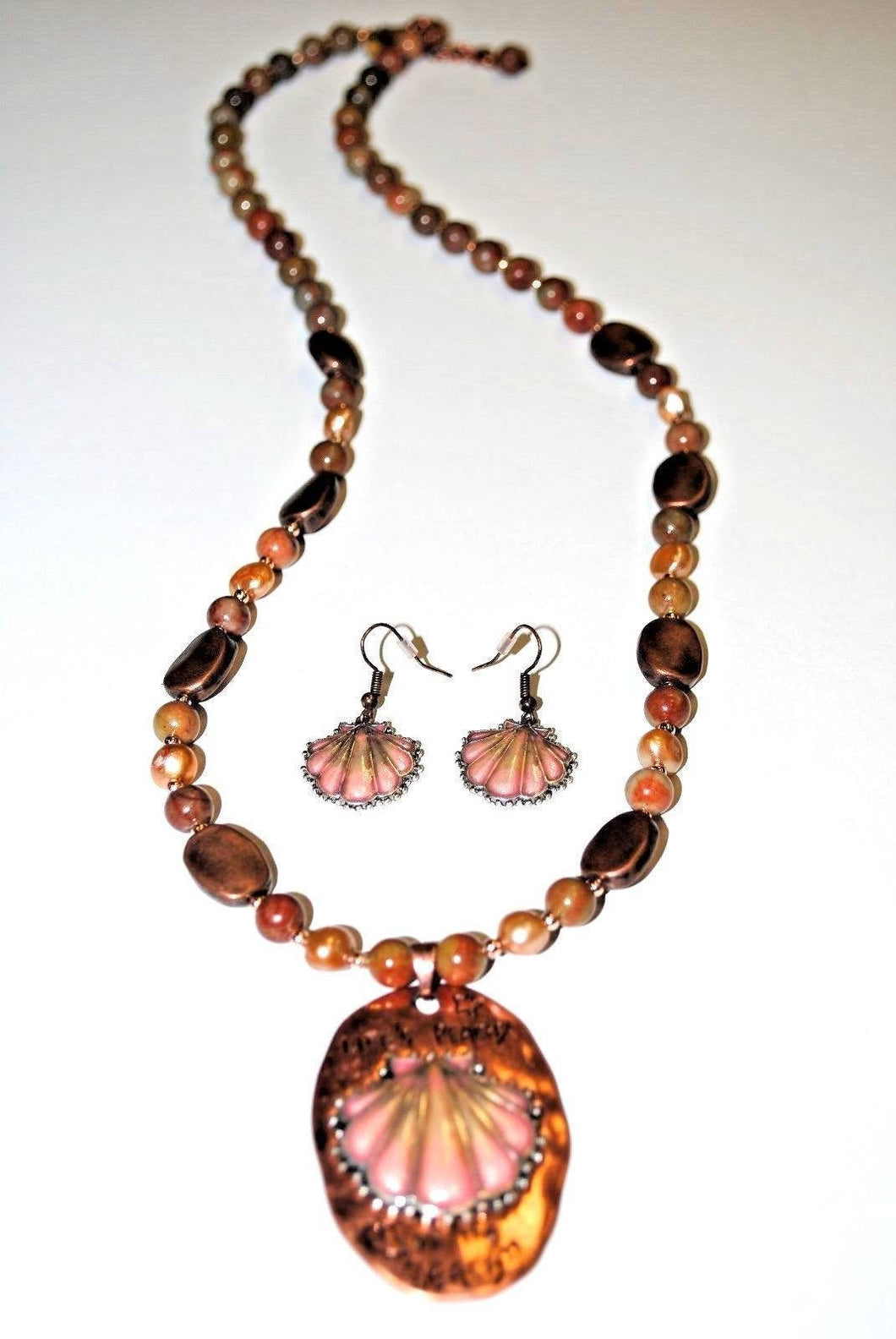 Long Autumn Jasper,Peach Freshwater Pearls and Copper Beads Necklace set.