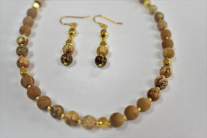 Picture Jasper and scene Jasper 6 mm Handmade Necklace set.Gold Hematite Beads.Olga's Treasures shop.