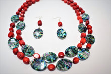 Load image into Gallery viewer, Red Bamboo Coral and Abalone Shells.Beaded Bamboo Coral  Necklace Set.Chunky Red Handmade Set.Abalone Jewelry.Olga's Treasures Shop