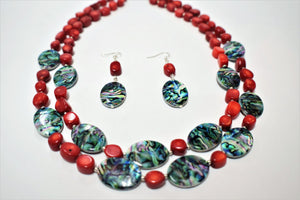 Red Bamboo Coral and Abalone Shells.Beaded Bamboo Coral  Necklace Set.Chunky Red Handmade Set.Abalone Jewelry.Olga's Treasures Shop