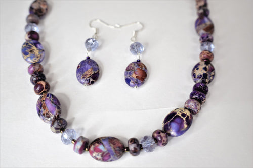 Purple Imperial Jasper.Handmade Sea Sediment Jasper.Handcrafted jewelry.Purple Gemstones Beads.Olga's Treasures Shop