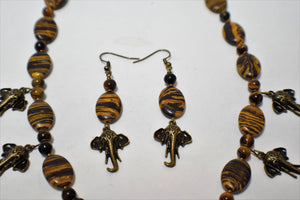 African Elephant and  Beaded Necklace Set