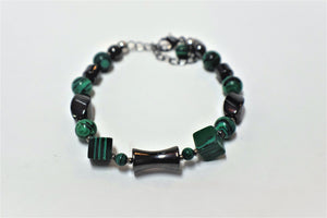 Malachite and Hematite Bracelet.Beaded Malachite and Hematite Stones.Beaded Bracelet Made.Olga's treasures Shop