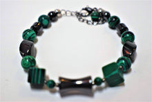 Load image into Gallery viewer, Malachite and Hematite Bracelet.Beaded Malachite and Hematite Stones.Beaded Bracelet Made.Olga's treasures Shop