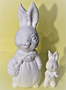 Bunny Mom with Baby Ready to Paint.