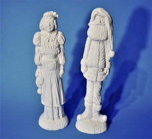 Mr and Mrs Claus Figurines Ready to Paint.