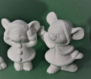 U-painted Ceramic Bisque Small Mice Set.