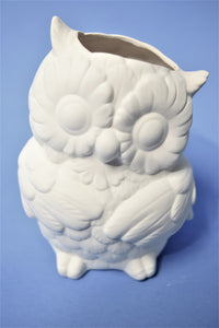 Cute Ready To Paint Owl Planter