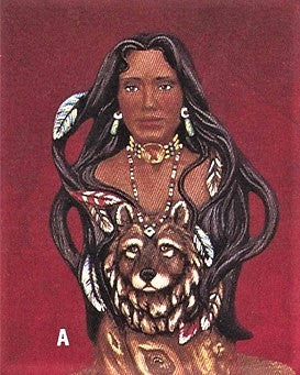 Indian Women with Wolf's Head