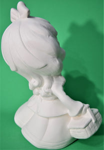 Ceramic Smiley Girl with Doll Ready to Paint
