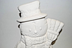 Snowman with Broomstick Ready to Paint.