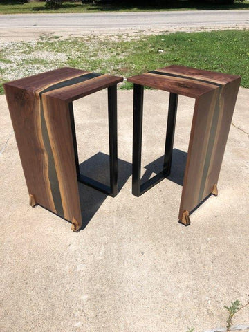 Walnut and Epoxy Waterfall Side Table Set