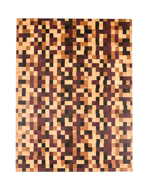 This gorgeous end grain cutting board features a rich and colorful combination of hardwoods in a unique pixel pattern.