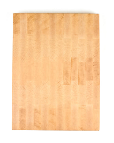 This gorgeous end grain cutting board features a rich and colorful maple that results in a unique natural pattern.