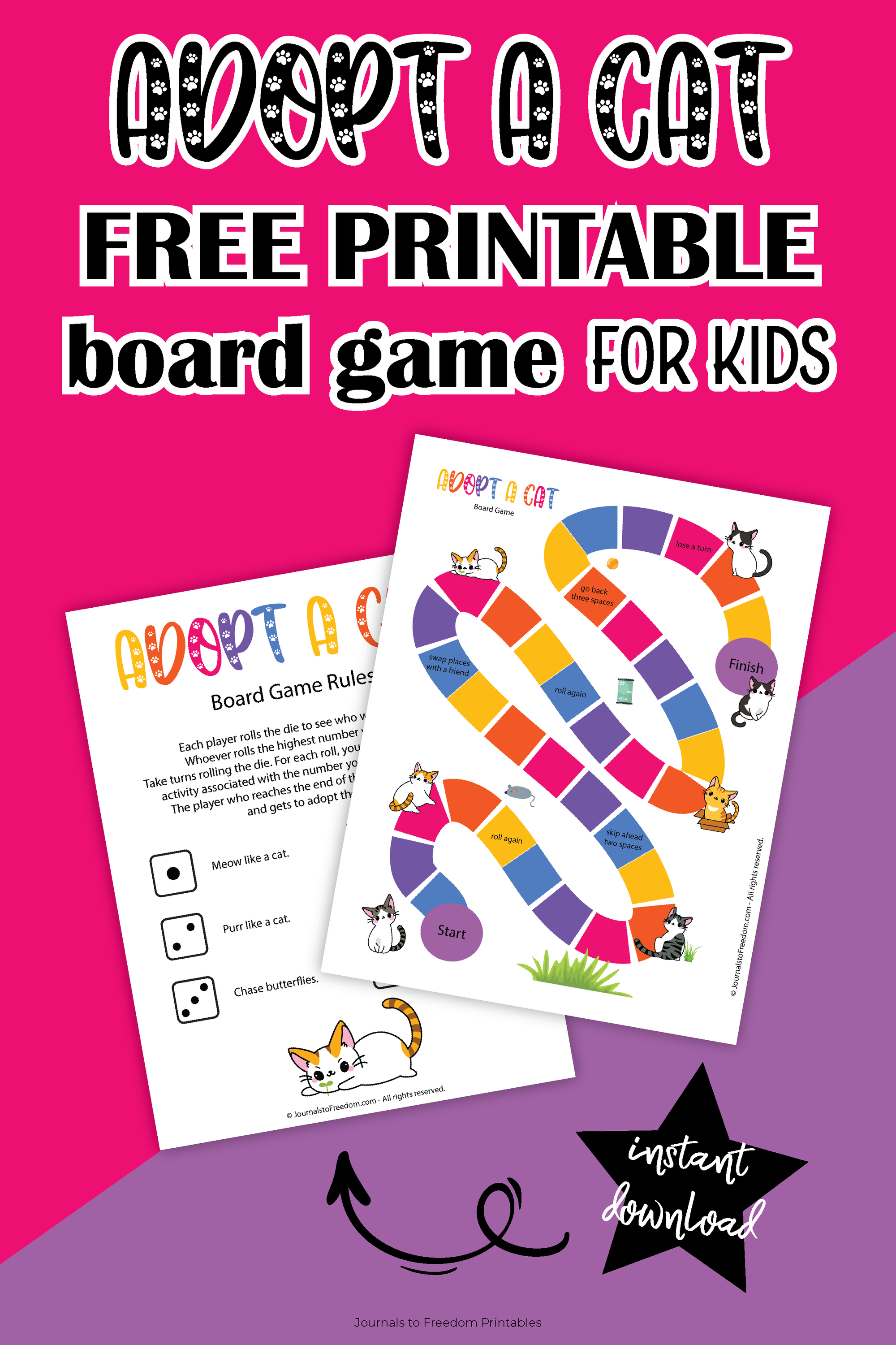 free printable Adopt a Cat board game