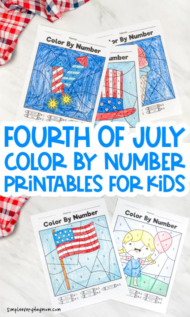 fourth of July color by number printables for kids laid on white blanket
