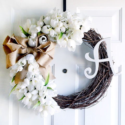 Monogram Tulip Wreath from Curly Crafty Mom