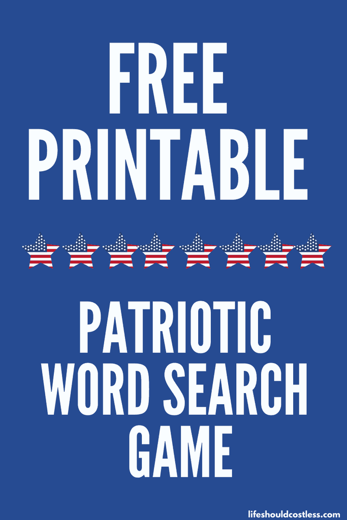 text reads Free Printable Patriotic Word Search Game