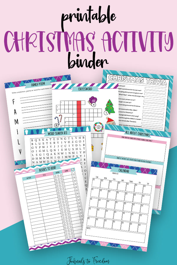 Printable Christmas Activity Binder - Journals to Freedom