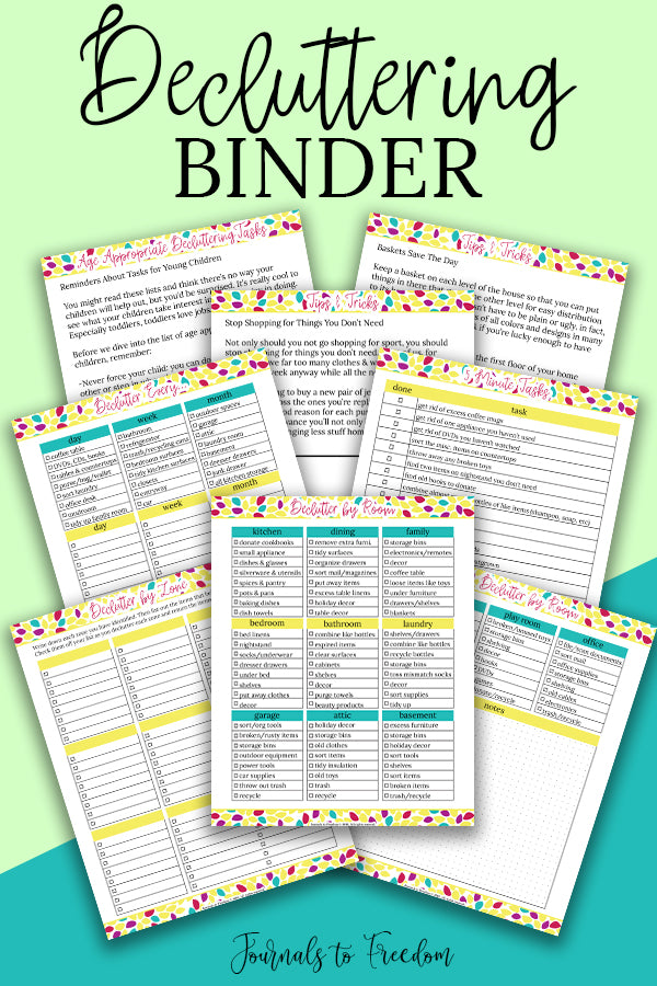 Decluttering Binder from Journals to Freedom Printables