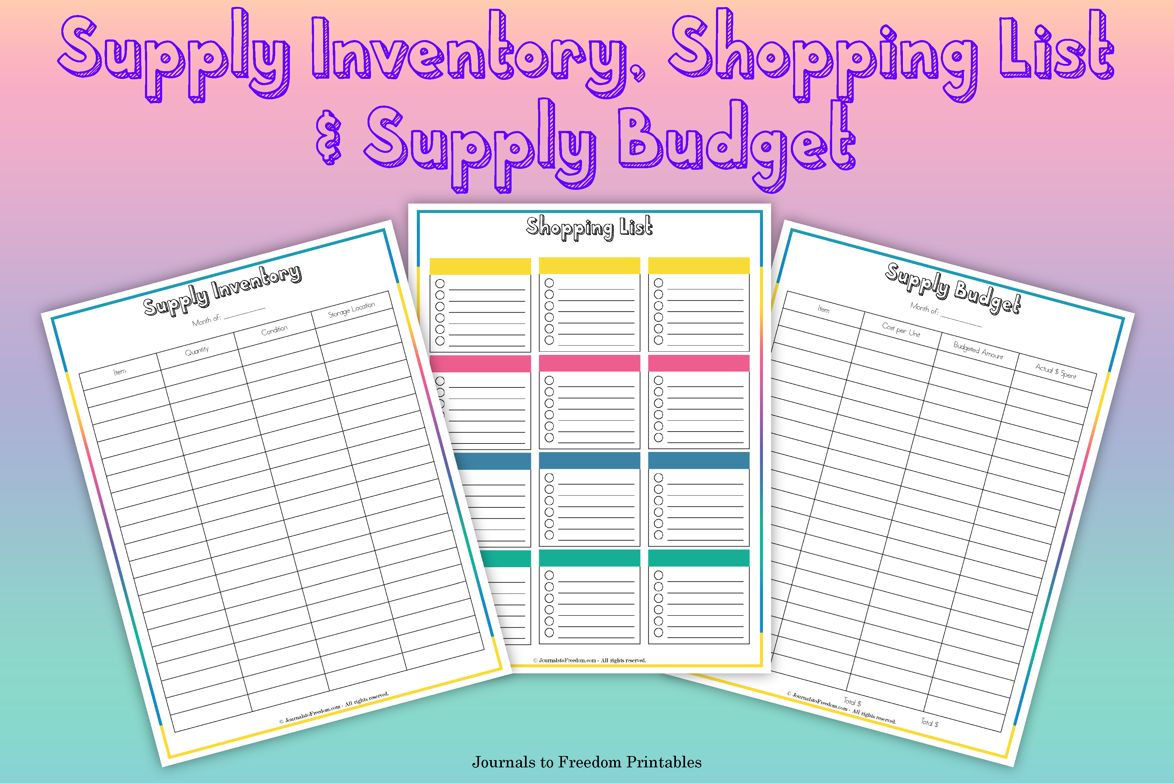 Printable Supply Inventory Shopping List and Supply Budget