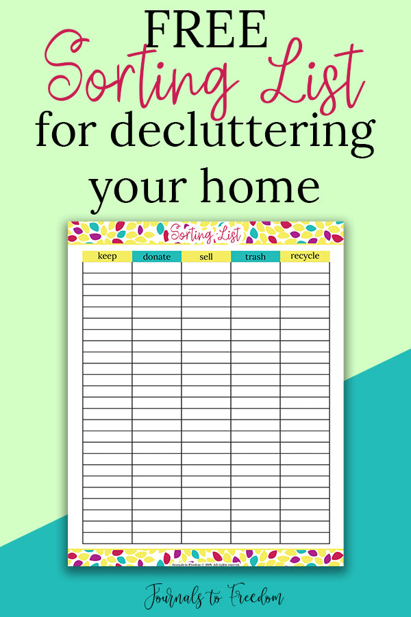Free printable sorting list for decluttering your home