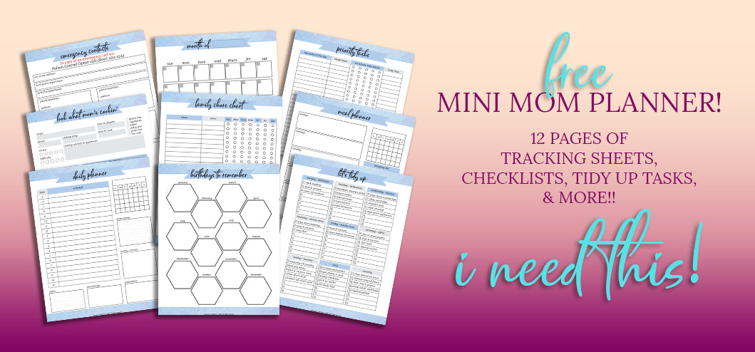 Free Mini Mom Planner from Journals to Freedom Printables