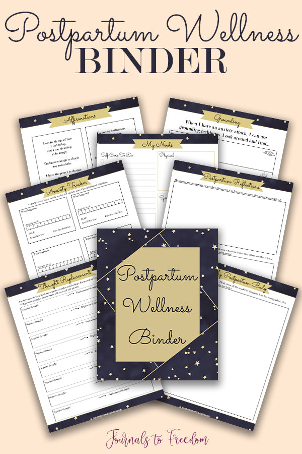 Postpartum Wellness Binder from Journals to Freedom Printables